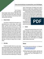 Article Critique on Operation Management Study