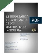 Importancia y Clasificacion de Los Materiales en Ingenieria