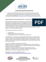 SACHS Disaster Preparedness Resources