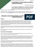 Artigo - - Educação e inovação tecnológica- um olhar sobre as políticas públicas brasileiras -PRETTO