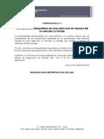 Municipalidad Metropolitana de Lima sobre acto de clausura del ex mercado La Parada