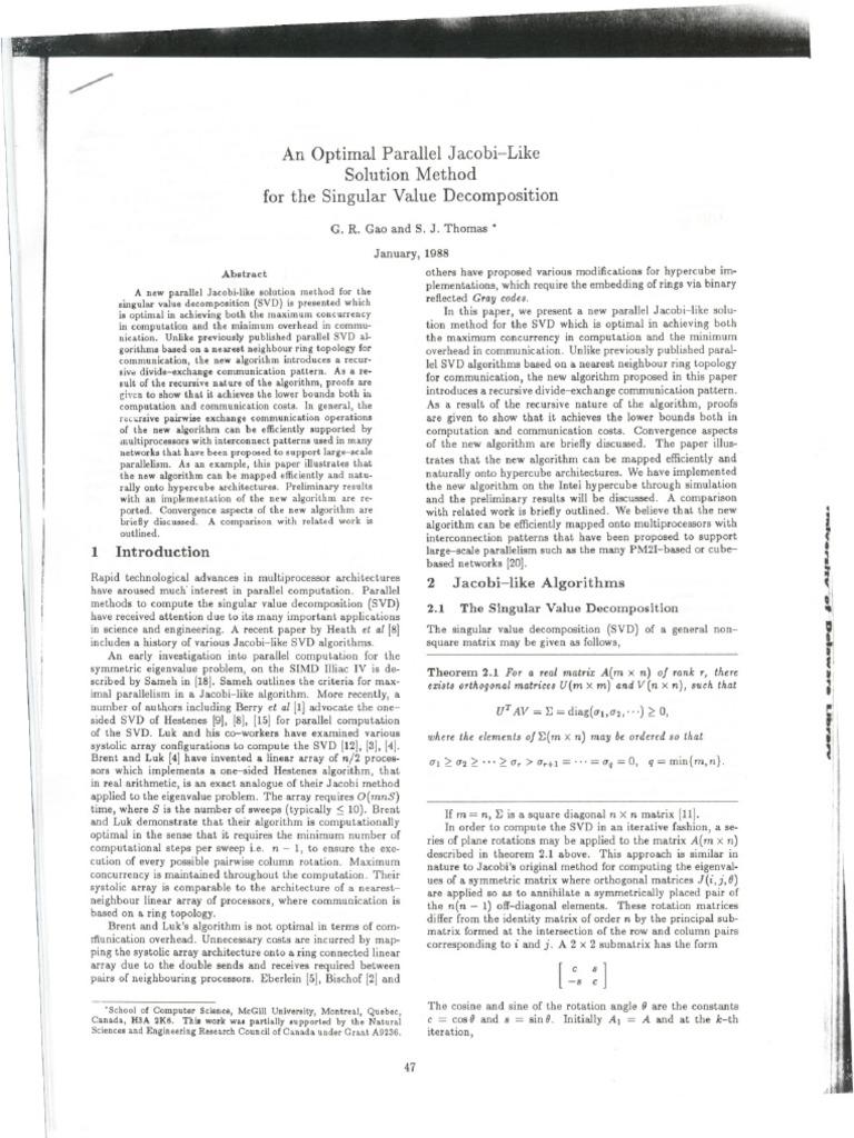 An Optimal Parallel Jacobi-Like Solution Method for the