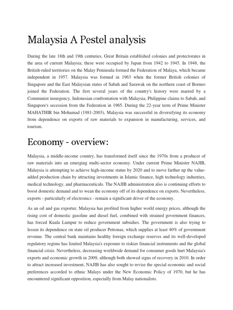 overview and analysis of malaysias economy Economy - overview: malaysia, an upper middle-income country, has transformed itself since the 1970s from a producer of raw materials into a multi-sector economy under current prime minister najib, malaysia is attempting to achieve high-income status by 2020 and to move further up the value-added production chain by attracting investments in.
