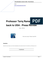 Professor Tariq Ramadan is Back to USA