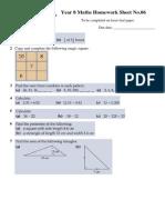Year 8 Maths Homework Sheet No 06