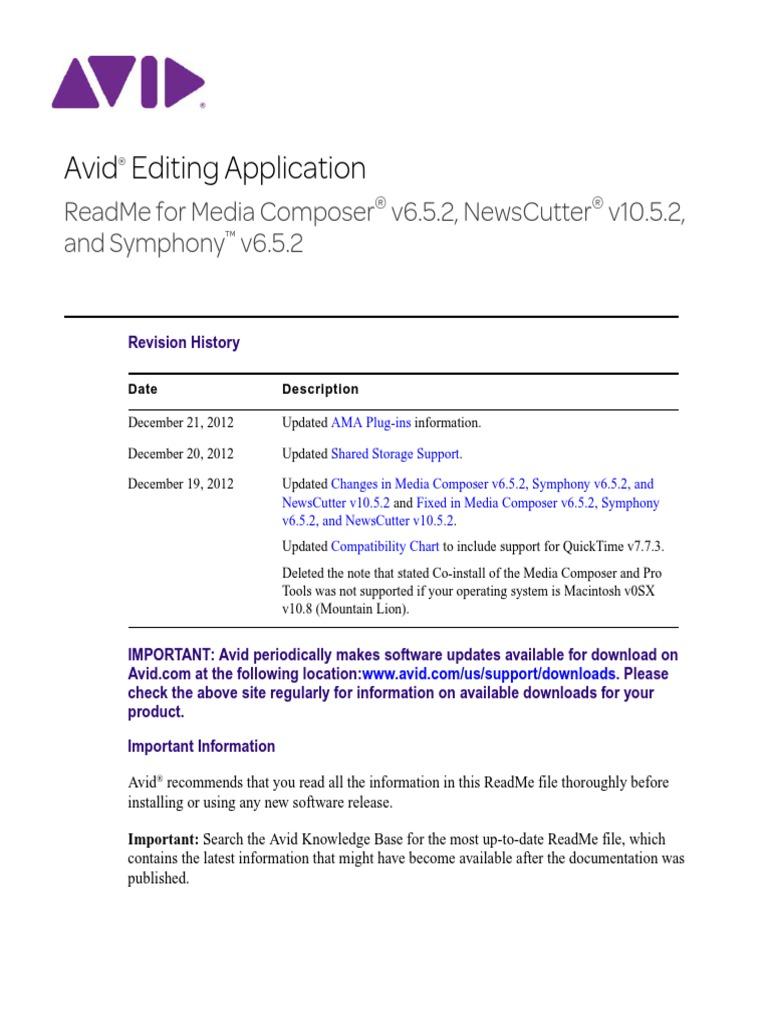 README Avid Editor v6 5 2 v10 5 2 | Operating System | Macintosh