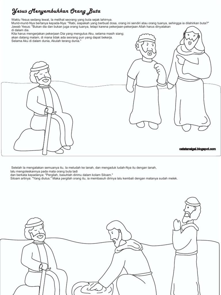 Gambar Mewarnai Yesus Menyembuhkan Orang Buta