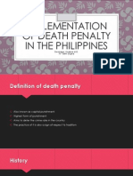 Implementation of Death Penalty in the Philippines