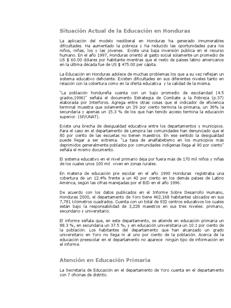 Situación Actual de la Educación en Honduras