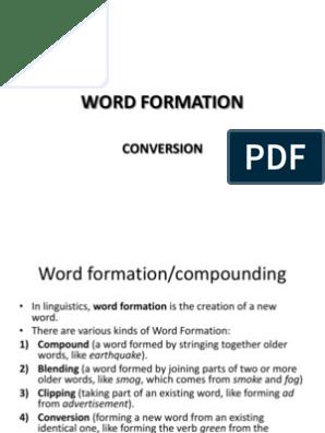 Word Formation Conversion | Part Of Speech | Noun