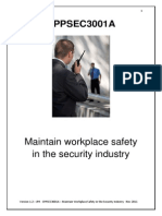 CPPSEC3001A Maintain Workplace Safety in the Security Industry - Reading Material