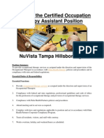 Apply for the Certified OccupationalTherapy Assistant Position