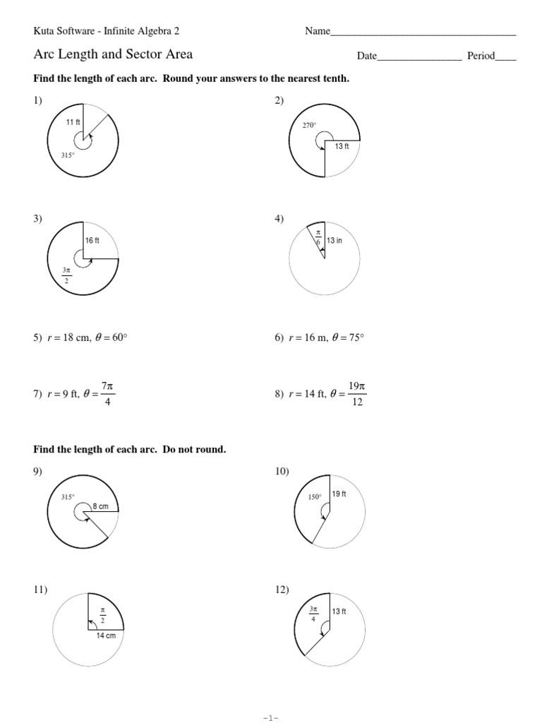 worksheet Arc Length And Sector Area Worksheet Answers worksheet arc length and sector area thedanks worksheet