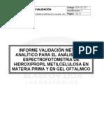 VALIDACION DEL METODO ANALÍTICO PARA EL ANALISIS DE HPMC