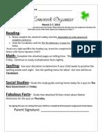 Homework Organizer March 3-7