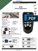 Kimo HD200 Thermo Hygrometer Datasheet
