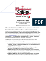 BudSports 2014 Co-Ed Football Rules