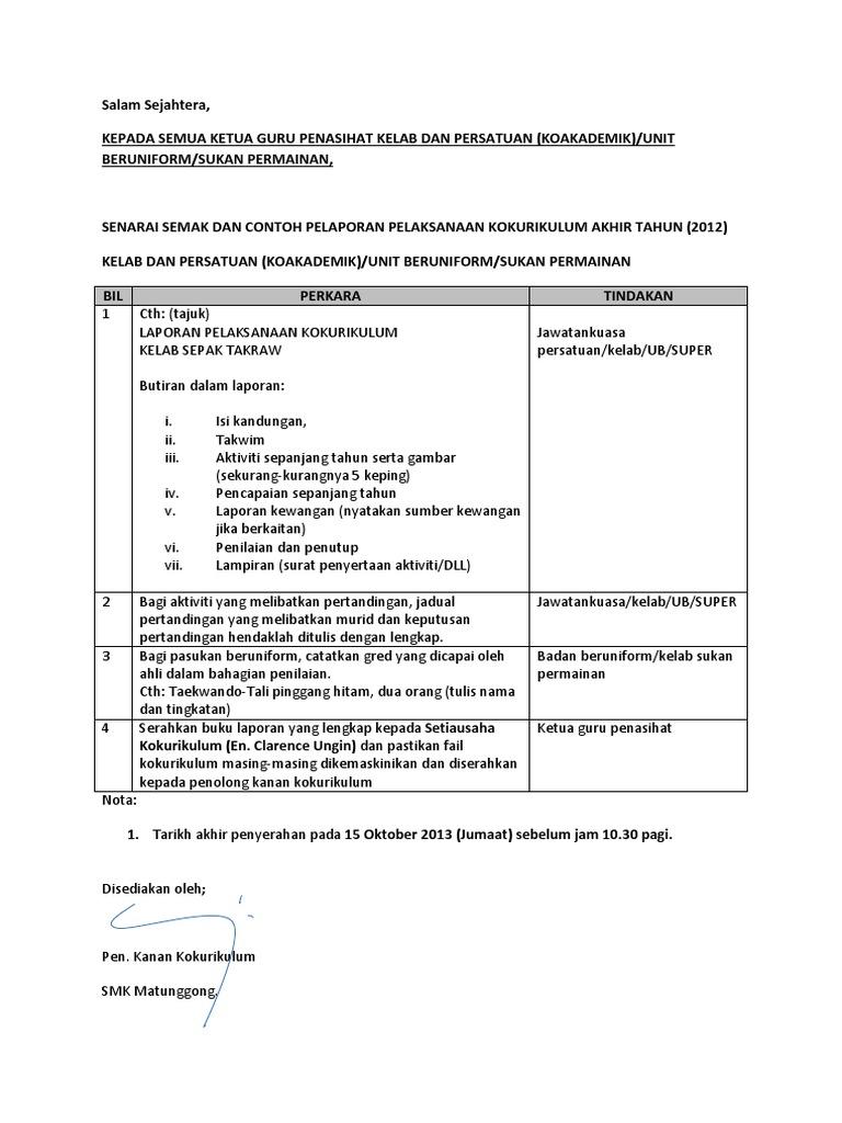 Format Laporan Kokurikulum Akhir Tahun 2013