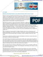 Position of the Islamic Emirate on the unilateral decision of the Security Council