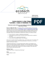 """Ecotech Institute to Host Webinar, """"Launching a Career in Engineering Technology"""""""