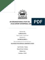 organisation study on atlus garment company
