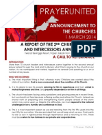 PRAYER UNITED - 2014 Circular No. 1 - 20140301 - Report of 2nd Church Leaders and Intercessors Annual Retreat - A Call to Repentance