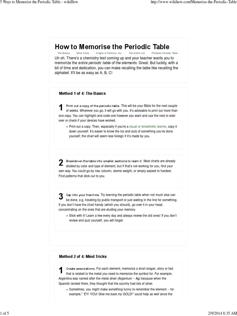 5 Ways To Memorise The Periodic Table Wikihow Chemical Elements