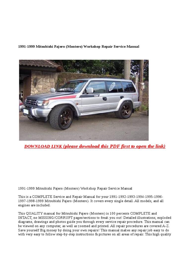 1991 1999 mitsubishi pajero montero workshop repair service manual rh scribd com 1991 Mitsubishi Montero 1996 Mitsubishi Montero