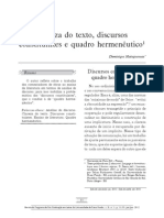 Dominique Maingueneau - Clareza do texto, discurso constituinte e quadro hermenêutico