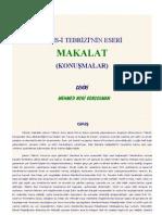 Makalat-ı Şems-i Tebriz (Şems-i Tebriz'in Makaleleri-Konuşmaları
