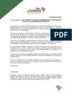 Carta Abierta de la Red de Ciudades Suramericanas, Redcisur, en apoyo a la ciudadanía de Caracas
