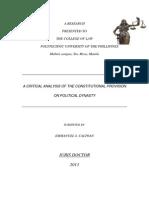 A Critical Analysis on Political Dynasty.