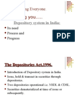 Depository system in India,needs and progress
