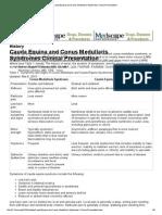 Cauda Equina and Conus Medullaris Syndromes Clinical Presentation