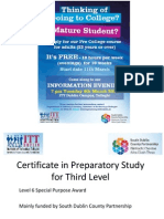 Certificate in Preparatory Study for Third Level