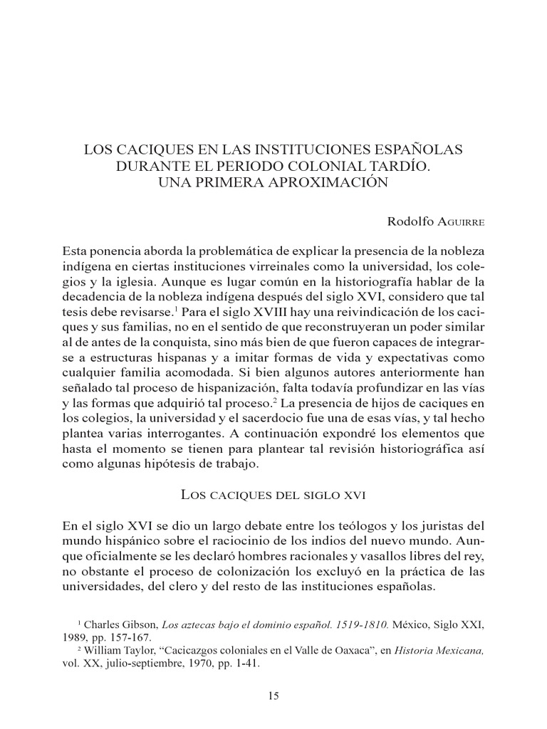 Preferência Caciques en la época colonial. LB39
