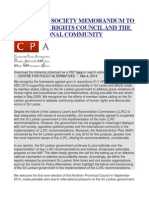 Joint Civil Society Memorandum to the Human Rights Council and the International Community