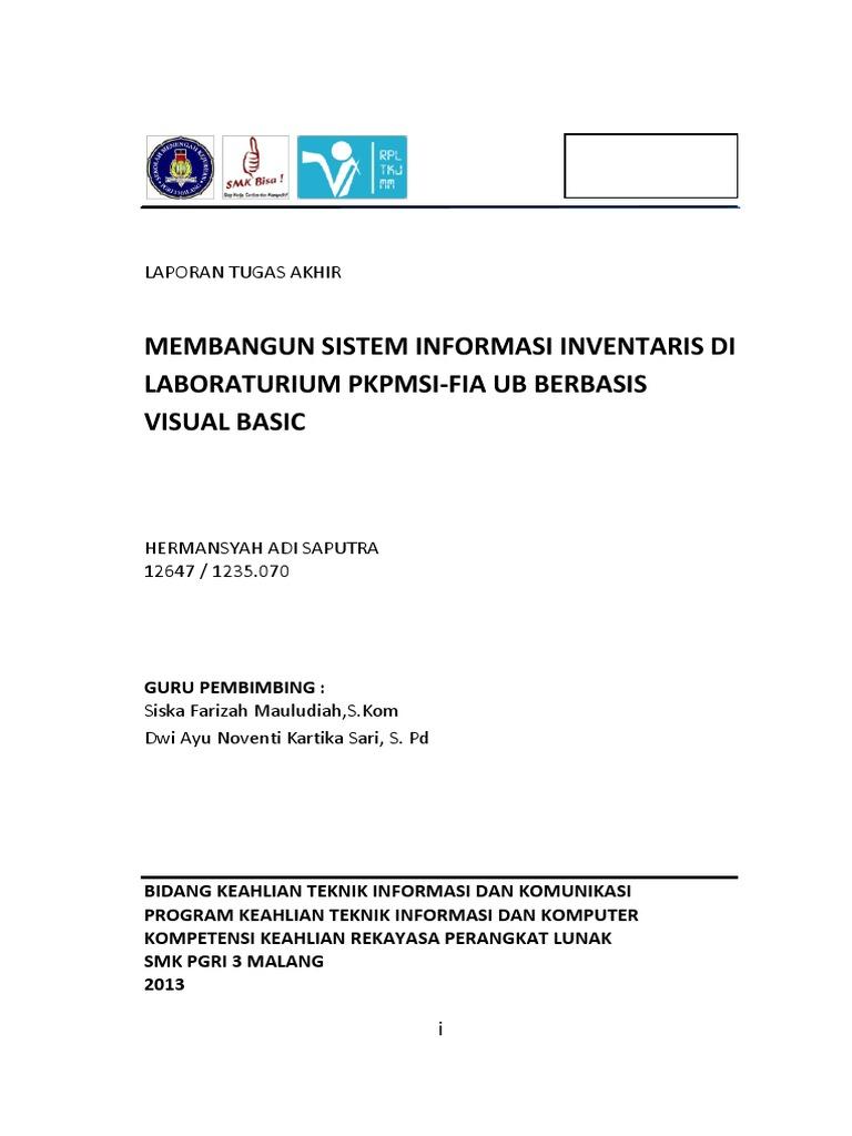 Laporan Tugas Akhir Jurusan Rpl Smk Pgri 03 Malang
