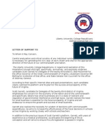 Letter of Support Candidates 2009