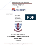 INTERNSHIP REPORT ON ALLIED BANK LIMITED 2009