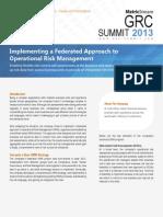 MetricStream GRC Summit 2013 Federated Approach ORM