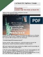 ABD'de Tek Ortak ve Resmi Dil İngilizce  Cengiz ÖZAKINCI+