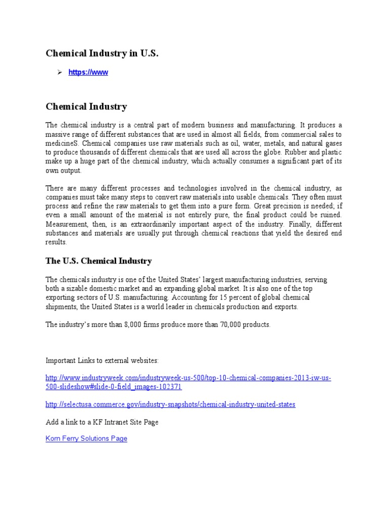 Sharepoint on Chemical Industry in U S | Chemical Industry