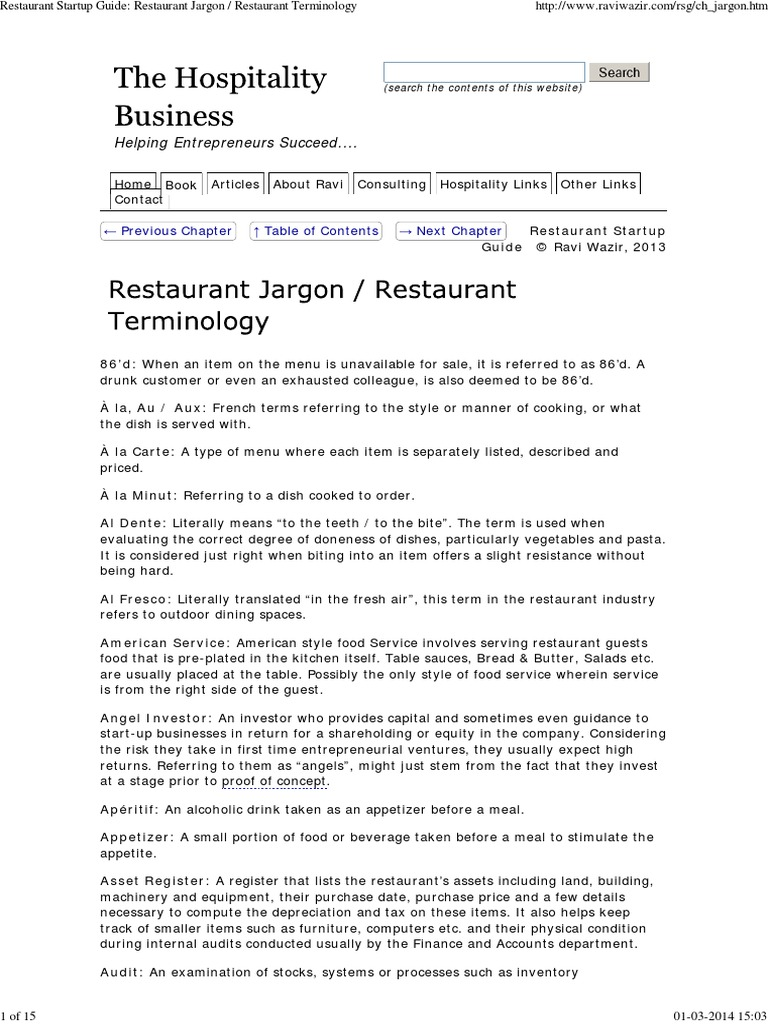 Restaurant Terminology Restaurants Point Of Sale