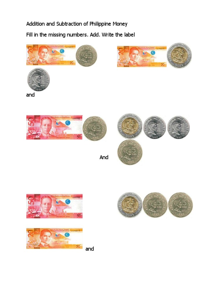 addition and subtraction of philippine money coins and pesos. Black Bedroom Furniture Sets. Home Design Ideas