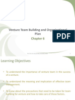 Chapter 6 Venture Team Building and Organizational Plan