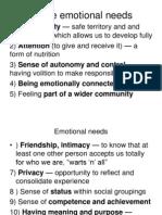 Innate Emotional Needs