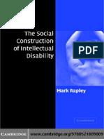 Mark Rapley the Social Construction of Intellectual Disability 2004