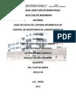 Base de Datos del Sistema Informático de Control de Inventarios de Laboratorios de Computo