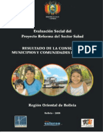 Resultados de la consulta a municipios y comunidades indígenas Region Oriental de Bolivia